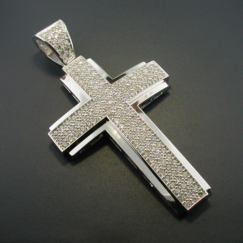 Diamond 14k white gold diamond cross pendant mozeypictures Gallery