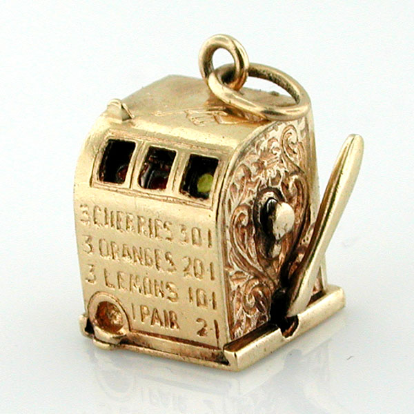 14K Gold Slot Machine 3D Vintage Charm ~ One Arm Bandit