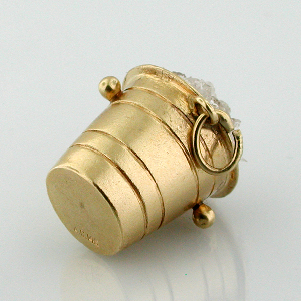 14K Gold Champagne Bottle in an Ice Bucket Vintage Charm