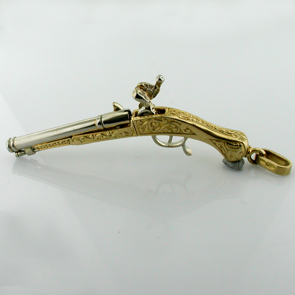Rudics 18K Gold Articulated Antique Duel Flintlock Pistol Gun Vintage Charm