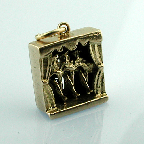 9K Gold Can Can Dancers English 9ct Moveable Vintage Charm