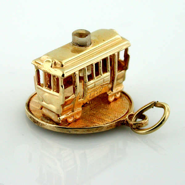 San Francisco Cable Car Stanhope 14K Gold Vintage Movable 3D Trolley Charm
