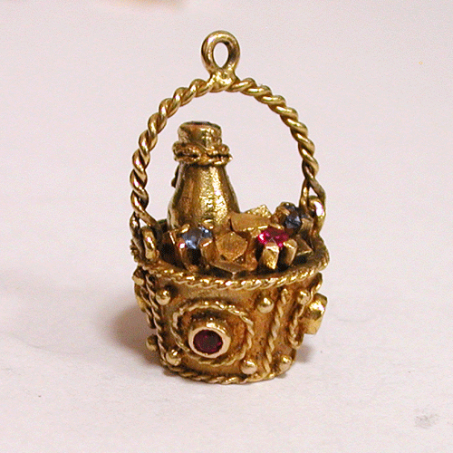 Jeweled 14K gold Champagne Ice Bucket Vintage Charm Movable