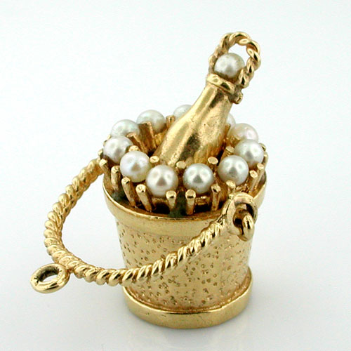 Jeweled 14K Gold Champagne Ice Bucket Basket Vintage Charm  with Pearl