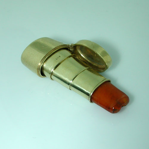 14K Gold Hidden Cigarette Holder in the Case Vintage Charm Pendant