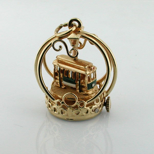 Vintage 14K Gold Dankner Living Charm Mechanical Cable Car Movable