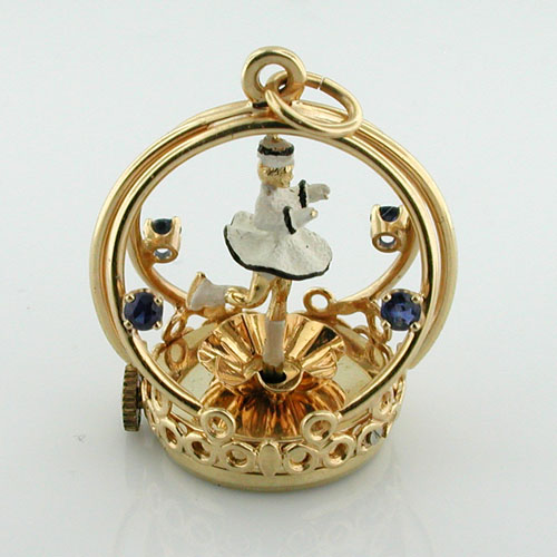 14K Gold Dankner Spinning Ice Skater Girl Living Charm Mechanical Vtg Pendant