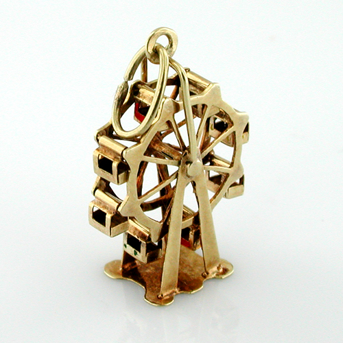 14K Gold Ferris Wheel Moveable Vintage 3D Charm Pendant
