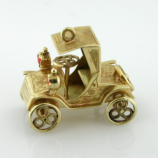 14K Gold Antique Classic Car Two Seater Collectible Vintage Charm