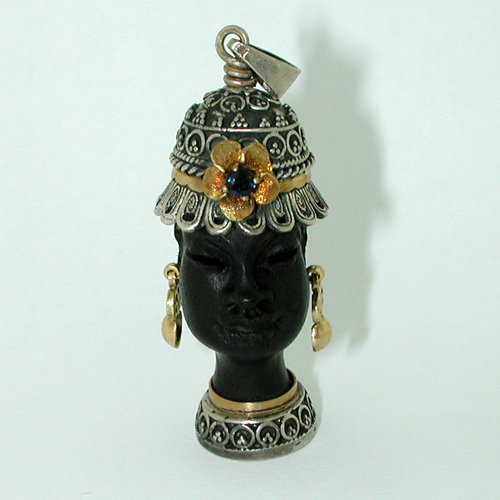 Jeweled Ebony Carved Blackamoor 18K Gold Sterling Vintage Charm Pendant