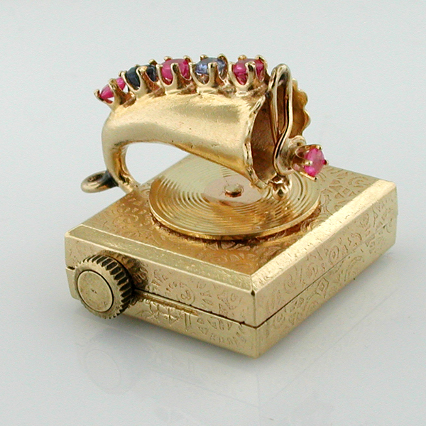 14K Gold Jeweled Phonograph Gramophone Music Box Vintage Charm