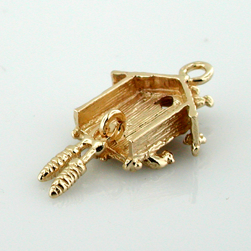 Movable Cuckoo Coo Coo Clock 3D 14K Gold Charm
