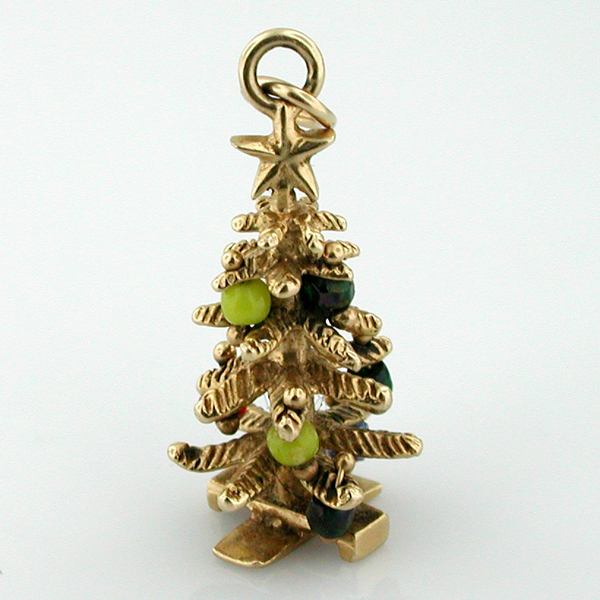 14k Gold Christmas Tree Vintage 3D Charm