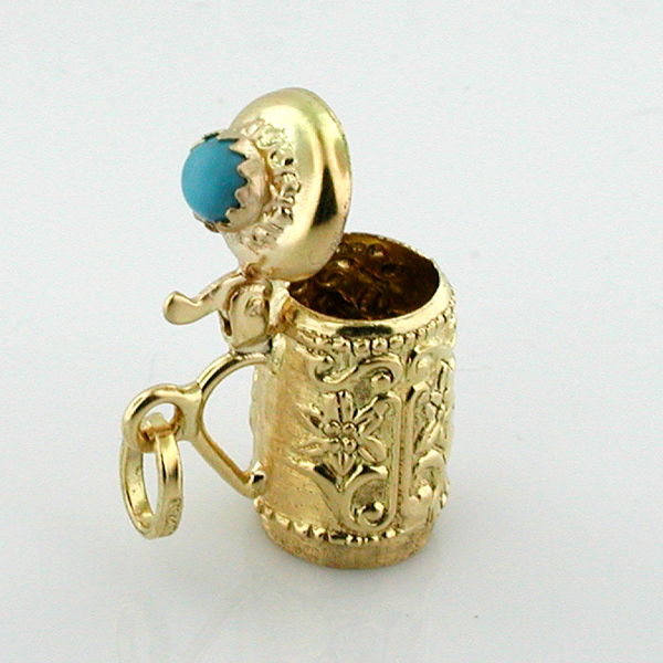 18K Gold Jeweled  Beer Stein Tankard 3D Vintage Charm