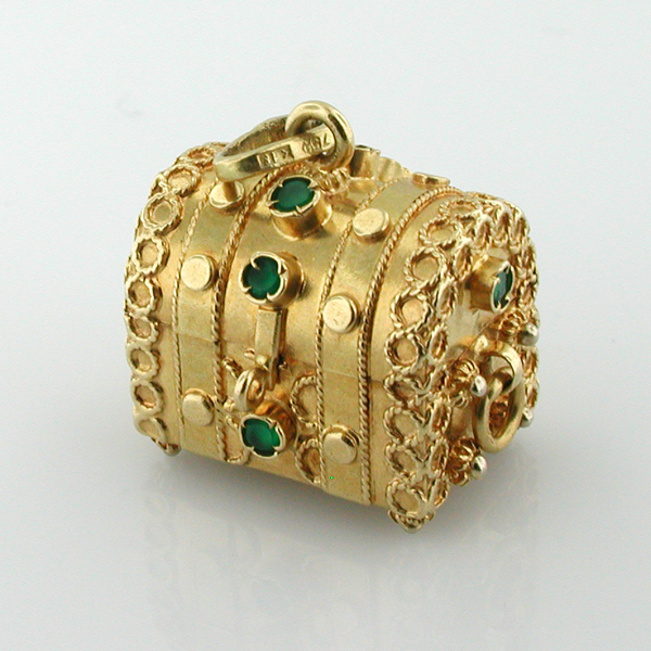 18K Gold Jeweled Treasure Chest Vintage Charm