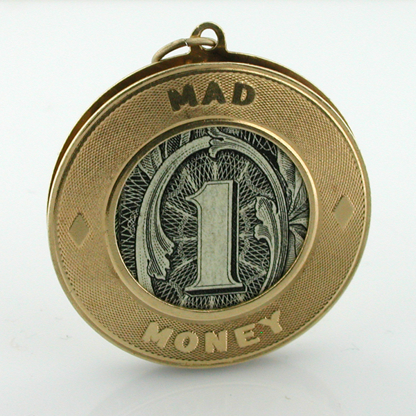 14k Gold MAD MONEY Holder Vintage Charm Pendant