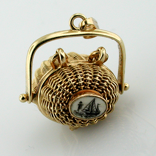 14k Gold Vintage Scrimshaw Nantucket Basket Charm Pendant with Lucky Penny