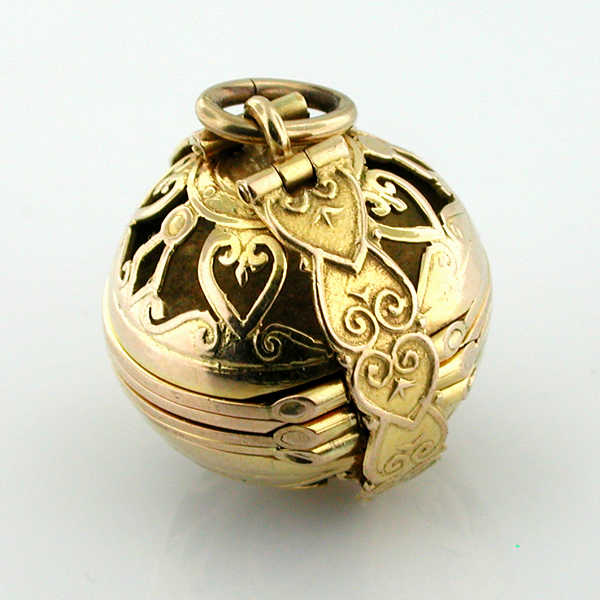 Edwardian 14K Gold Globe Ball Picture Locket Antique Vintage Charm Pendant