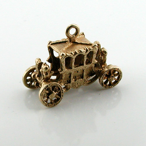 14K Gold Royal Carriage Coach Vintage Charm