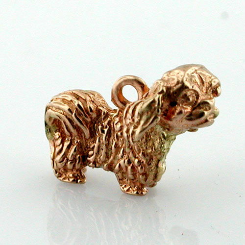 Pekingese Dog 14k Gold Charm