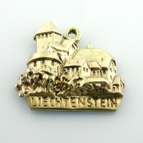 14K Gold LIECHTENSTEIN Castle Travel Charm
