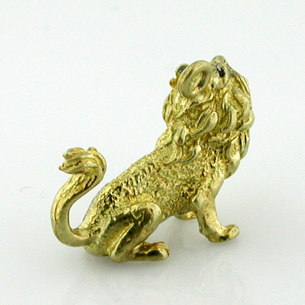 Roaring Sitting 3D Lion 14K Gold Charm