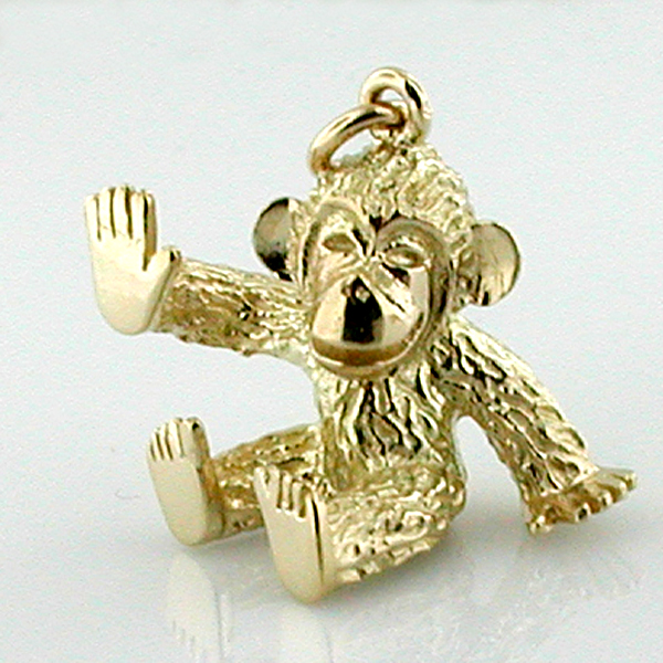 Sitting Baby Chimpanzee Monkey 14K Gold Charm