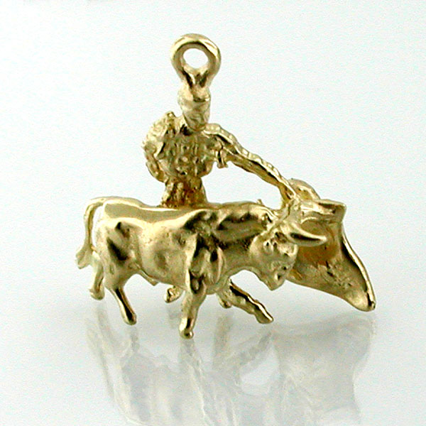 Matador Bull Fighting 3D Travel 14K Gold Charm - Spain