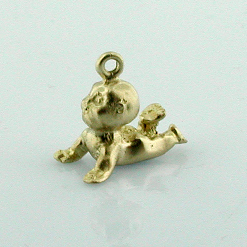 14K Gold Cupie Doll Baby 3D Charm
