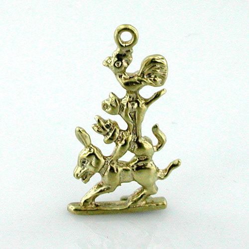 Town Musicians of Bremen 14k Gold Charm