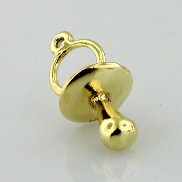 Baby Infant Pacifier 3D 14K Gold Charm