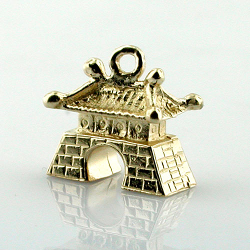 Chinese Pagoda House 3D Travel 14k Gold Charm