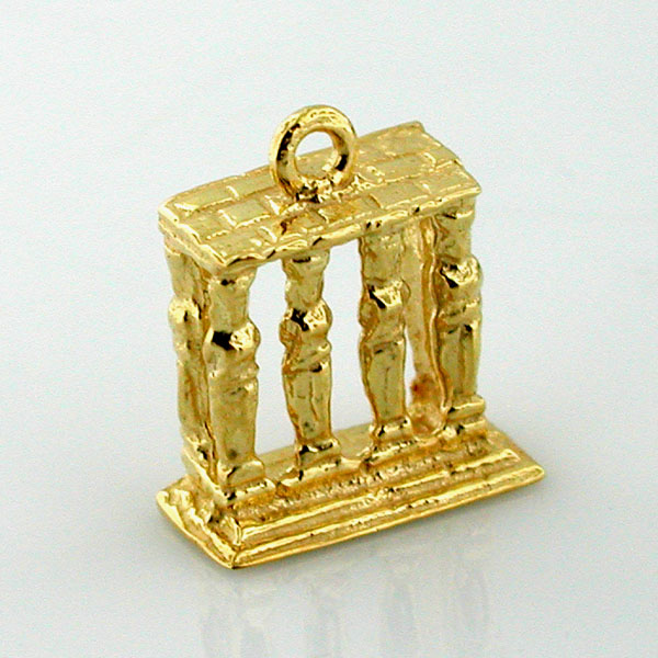 Greek Erechtheum Porch of Maiden 14k Gold Charm