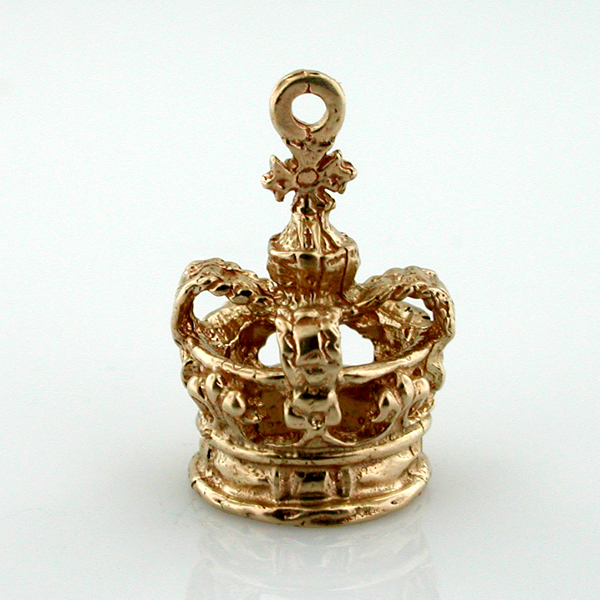 14k Gold Royal Crown 3D Vintage Charm