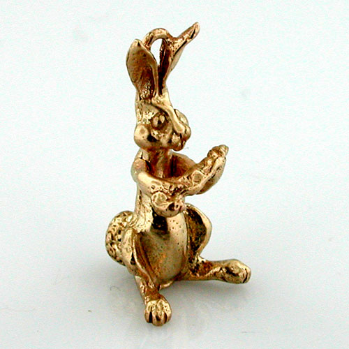 Rabbit with Carrot Movable 14K Gold Charm