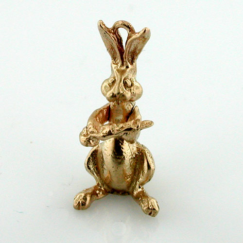 14K Gold Rabbit with Carrot Movable Charm