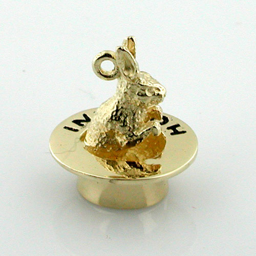 Rabbit in Magician Houdini Hat Magic 14k Gold Charm