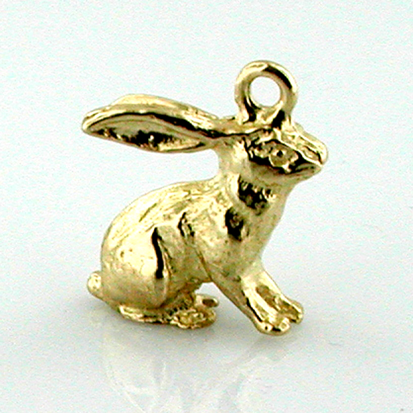 14K Gold Sitting Rabbit 3D Charm