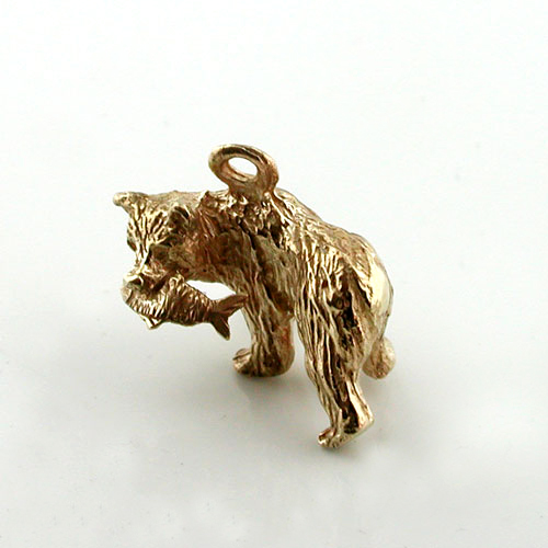Grizzly Bear with Salmon Fish 14K Gold Charm