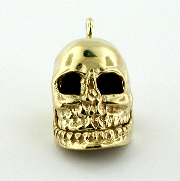 14k Gold  Skull Movable Jaw 3D Charm