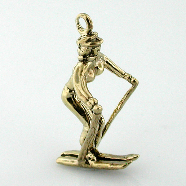14K Gold Lady Female Skier 3D Charm