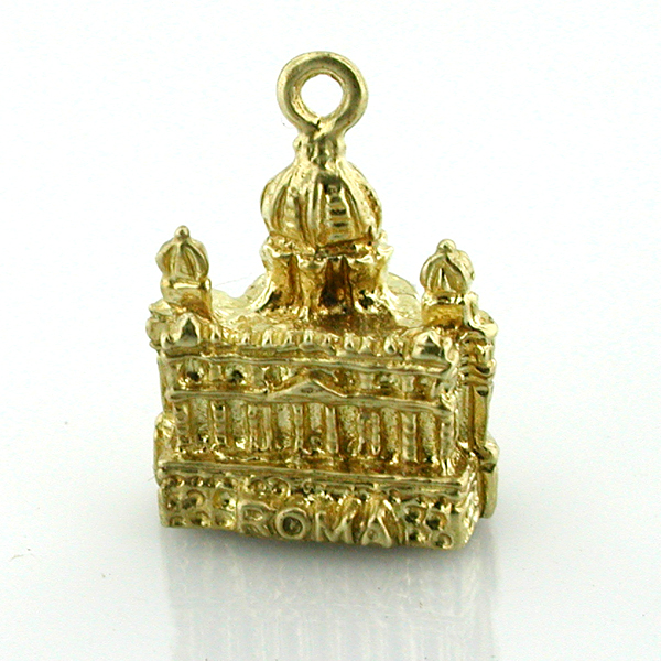 14K Gold St Peters Basilica Vatican Roma 3D Charm - Rome Italy