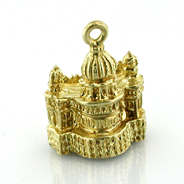 St Peters Basilica Vatican Roma 14k Gold Charm - Rome Italy