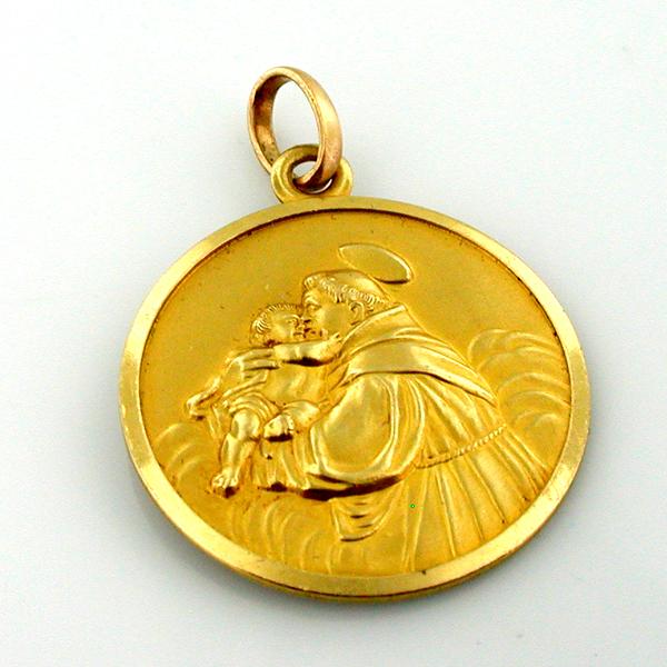 Sold 18k gold st anthony vintage religious medal charm pendant aloadofball Choice Image