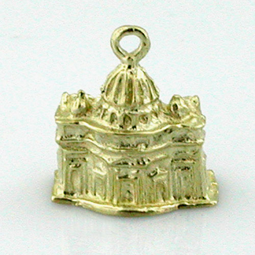 St Peters Basilica Rome Vatican 14K Gold Charm