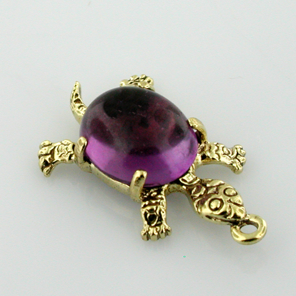 Cute Turtle Cabochon Shell Vintage 14K Gold Charm