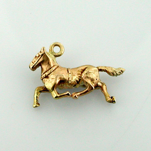Trotting Horse 3D Mini 14K Gold Charm