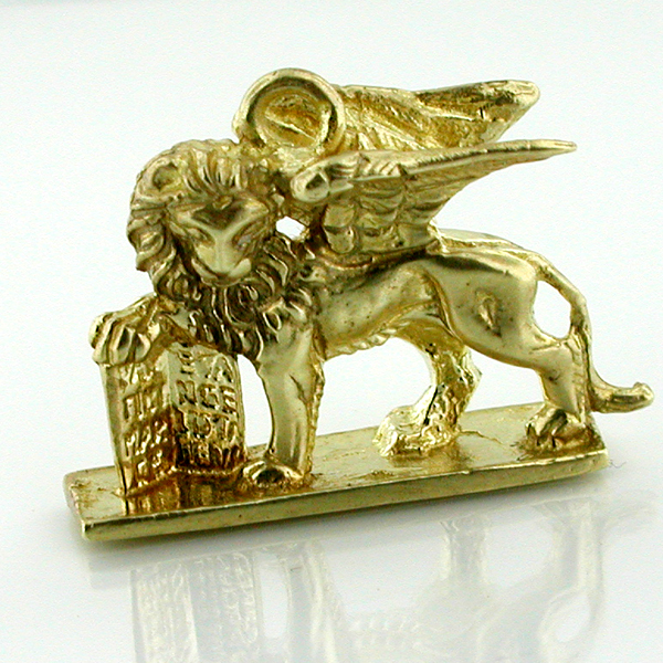14K Gold Winged Lion St. Mark Venice Travel Charm Pendant