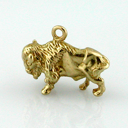 Bison Buffalo 3D 14k Gold Charm