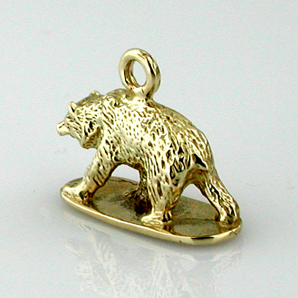 Walking Grizzly Bear 3D 14K Gold Charm